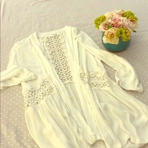 Crocheted white Maurice cardigan